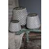 Glazen windlicht Diamond light grey 15 cm