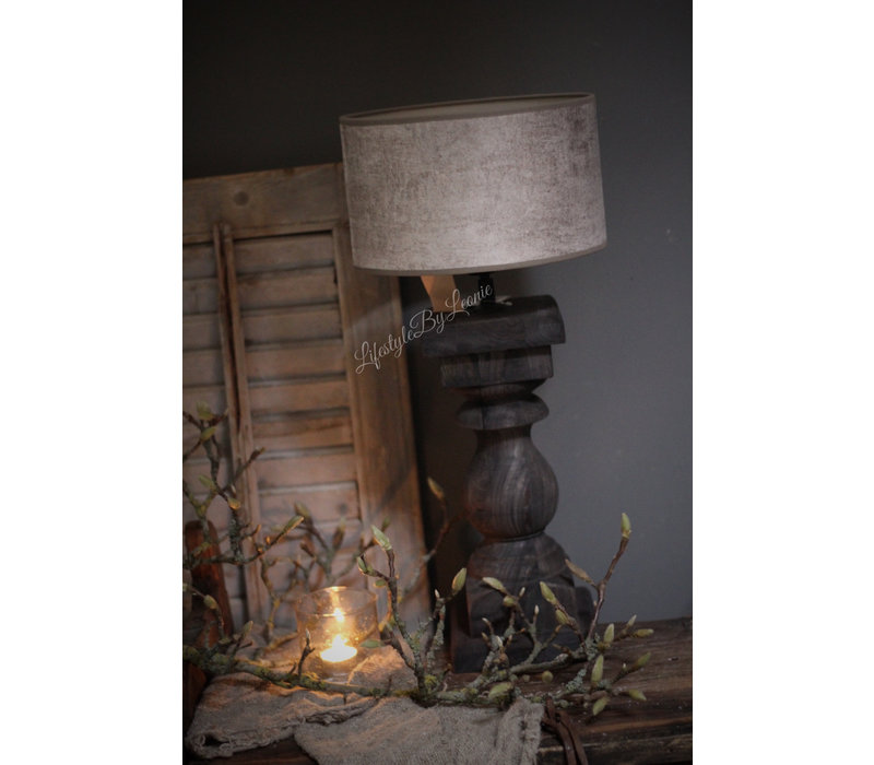 Velvet cilinder lampenkap Leem 20cm