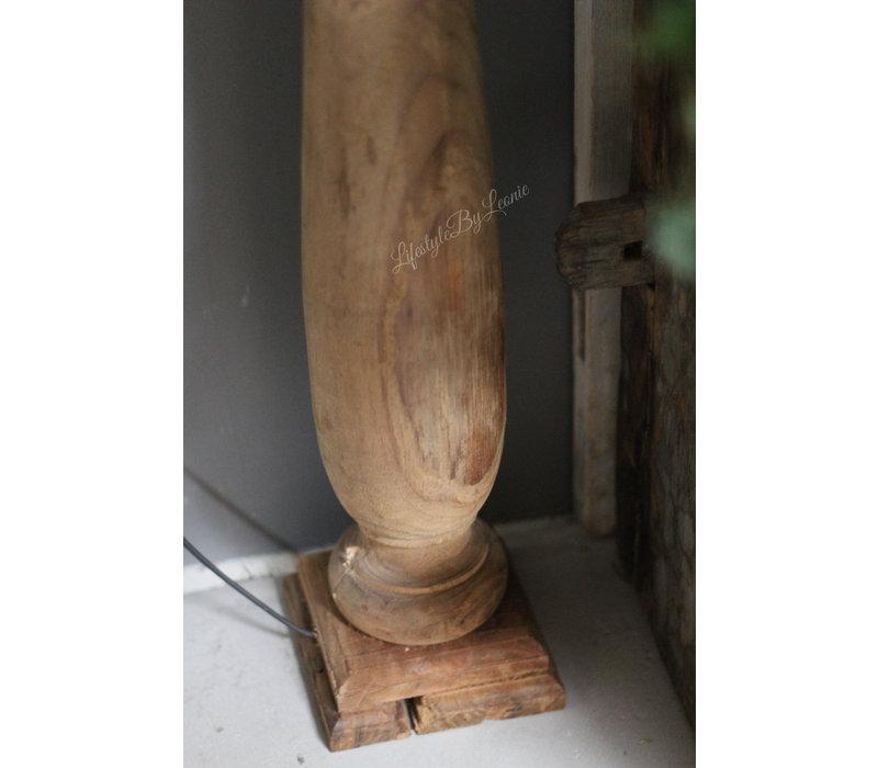Hoge houten baluster lampvoet Teak wood 90 cm