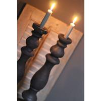 Grote houten baluster kandelaar Dark grey 50 cm