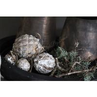 Glazen kerstbal Diamond brown / gold 6 cm
