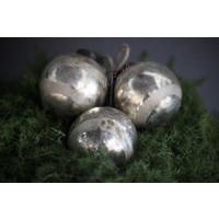 Glazen kerstbal Shabby old silver 8 cm