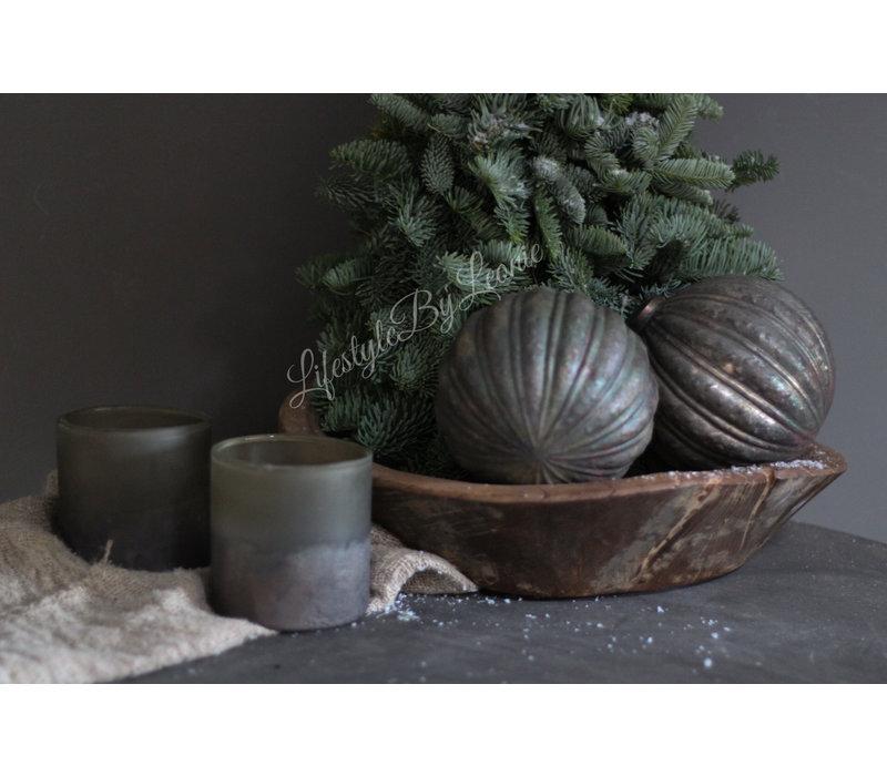Grote glazen sobere kerstbal Melon mudd 15 cm
