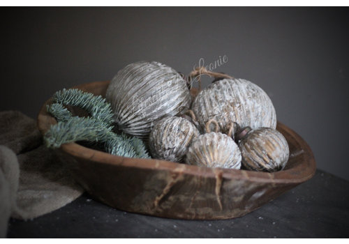 Glazen kerstbal Ribbed brown / gold 13 cm