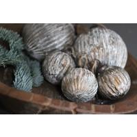Glazen kerstbal Ribbed brown / gold 8 cm