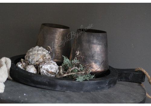 Glazen kerstbal Diamond brown / gold 8 cm