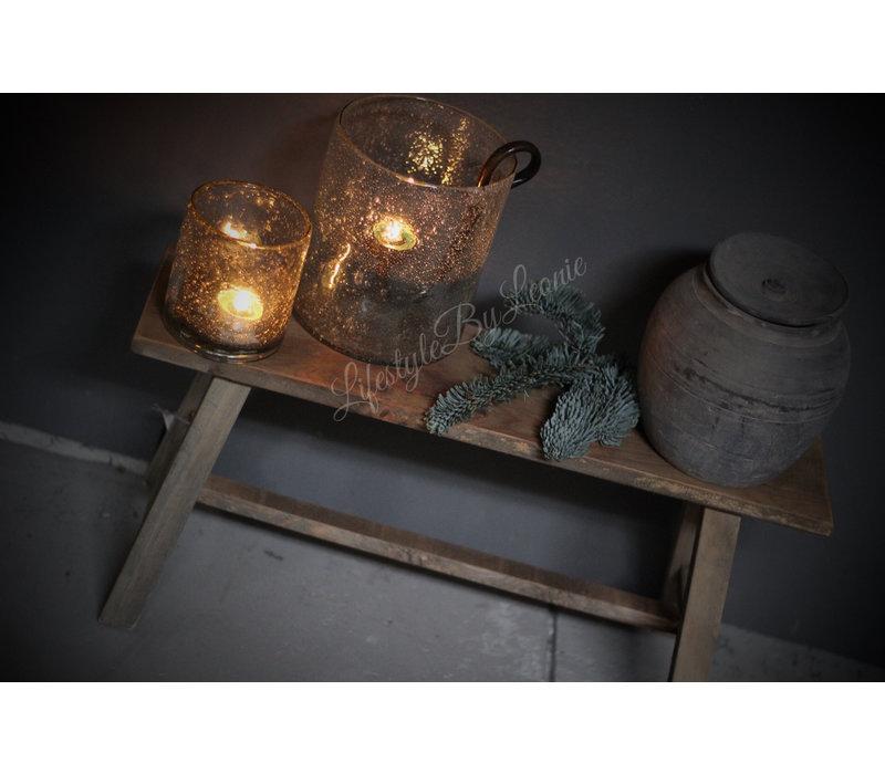 Oude houten kruk Natural wood 58 cm