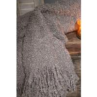 Wollig plaid Klei taupe 170 cm