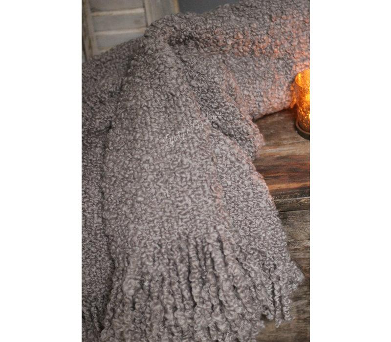 Wollig plaid Klei taupe 130 x 170 cm