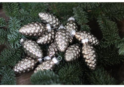 Doosje kerst ornamenten Dennenappel fossil
