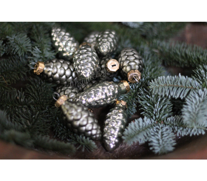 Doosje kerst ornamenten Dennenappel granite green