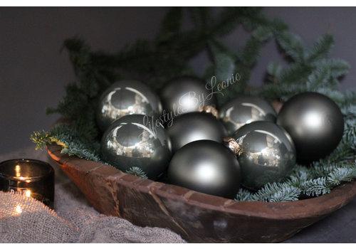 Glazen kerstbal Granite green glans 8 cm