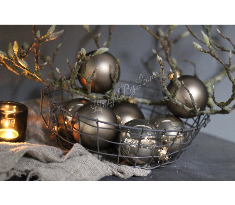 Glazen kerstbal Fossil glans 8 cm