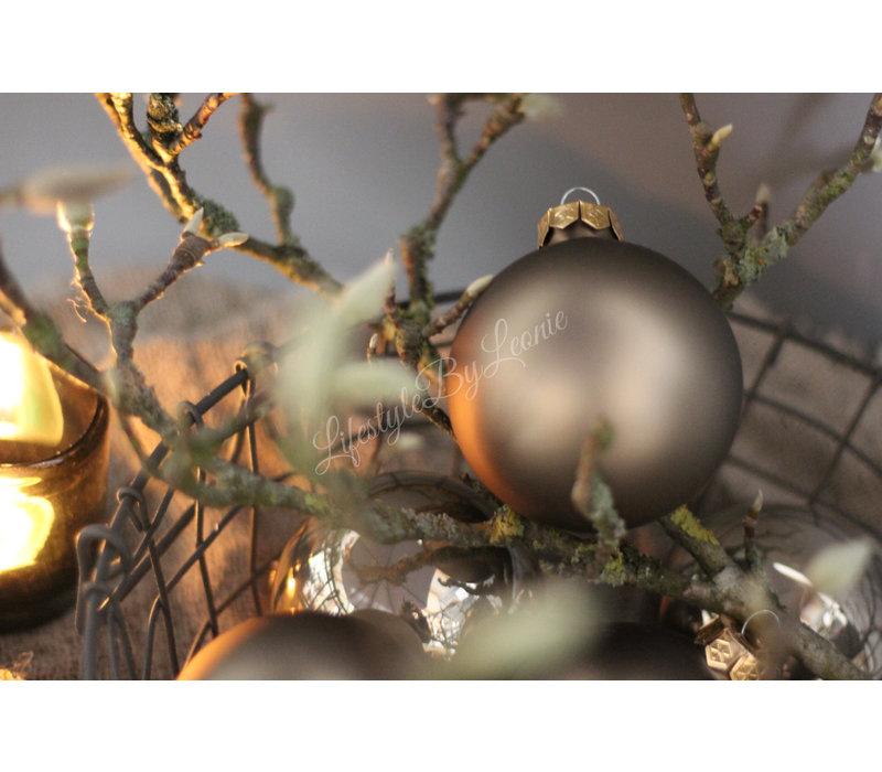 Glazen kerstbal Fossil mat 8 cm