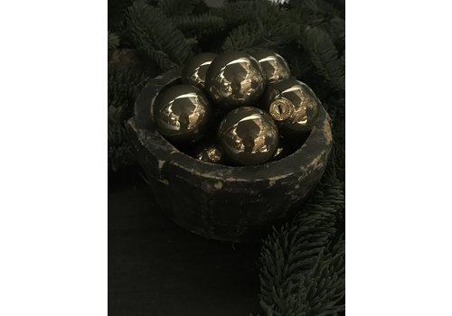 Glazen kerstbal Fossil glans 4cm