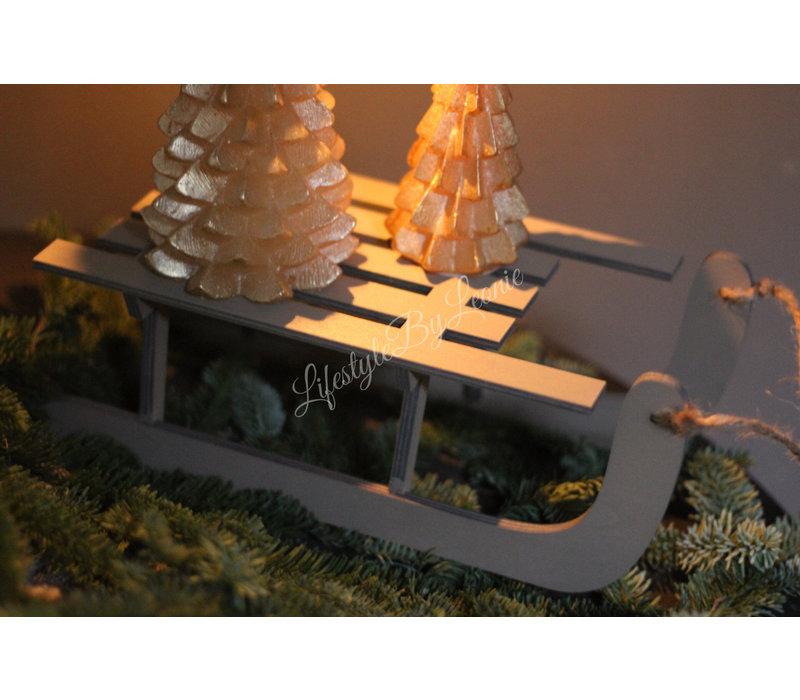 Grijs houten sleetje 28 cm
