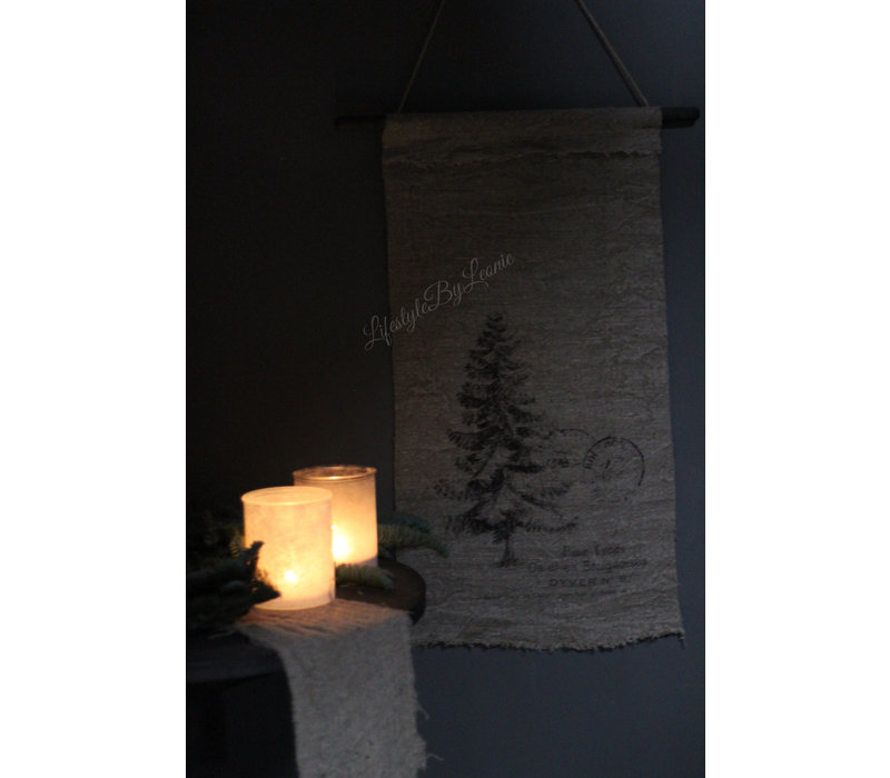 Glazen waxinelichthouder Snowy grey 15 cm