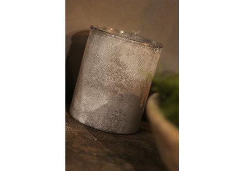Glazen waxinelicht snowy 'Grey' 15cm