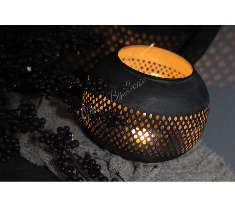 Ronde zwarte metalen windlicht Marrakech 23 cm