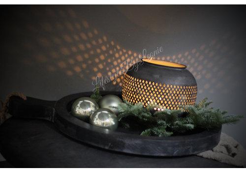 Ronde zwarte metalen 'Marrakech' windlicht 23cm