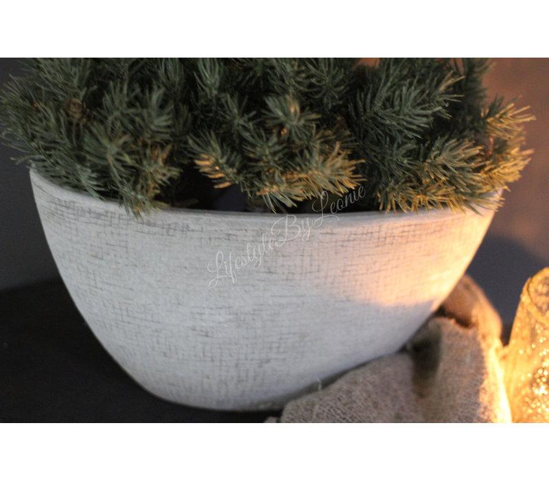 Ovale stenen pot Cement grijs 30 cm