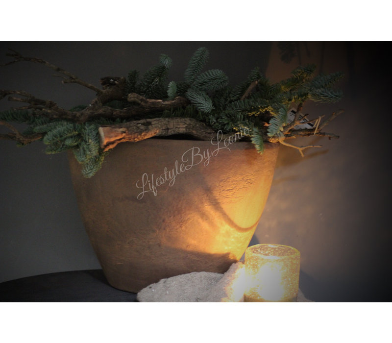 Ovale stenen pot Roest 40 cm