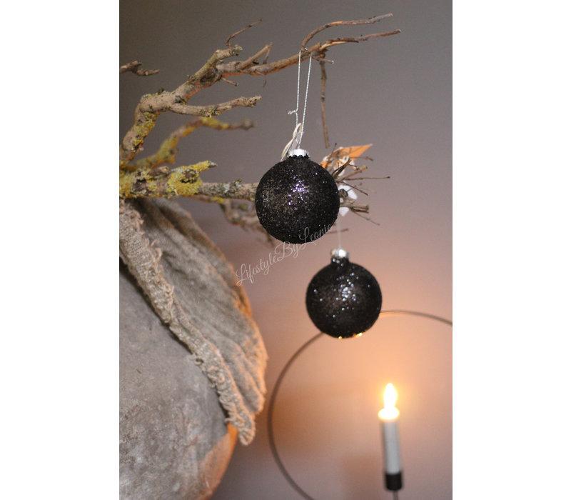 Zwarte glazen kerstbal glitter 8 cm