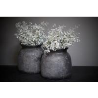 Stenen pot / kruik Indonesië zwart 17 cm