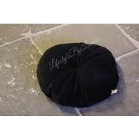 Rond velvet kussen Flower black 40 cm