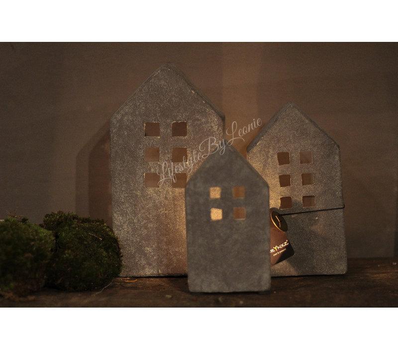 Brynxz stenen huisje waxinelicht - maat M