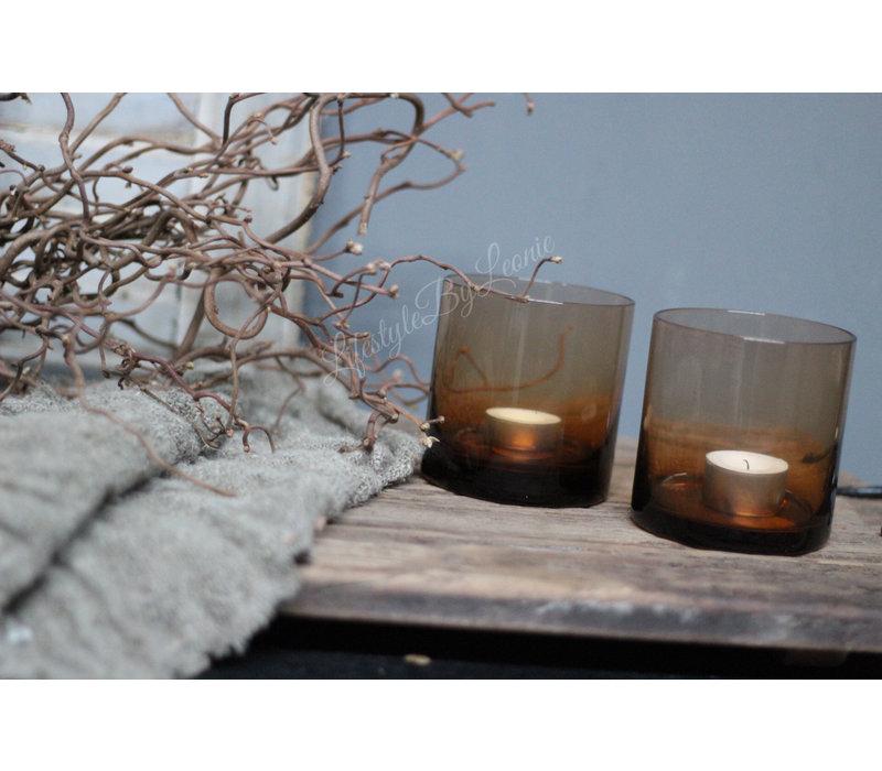 Cilinder windlicht Amber brown 10 cm