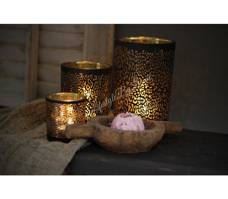 Waxinelichthouder panter print zwart/goud 12 cm