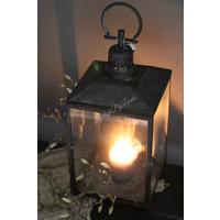 Grote zwart metalen lantaarn 47 cm