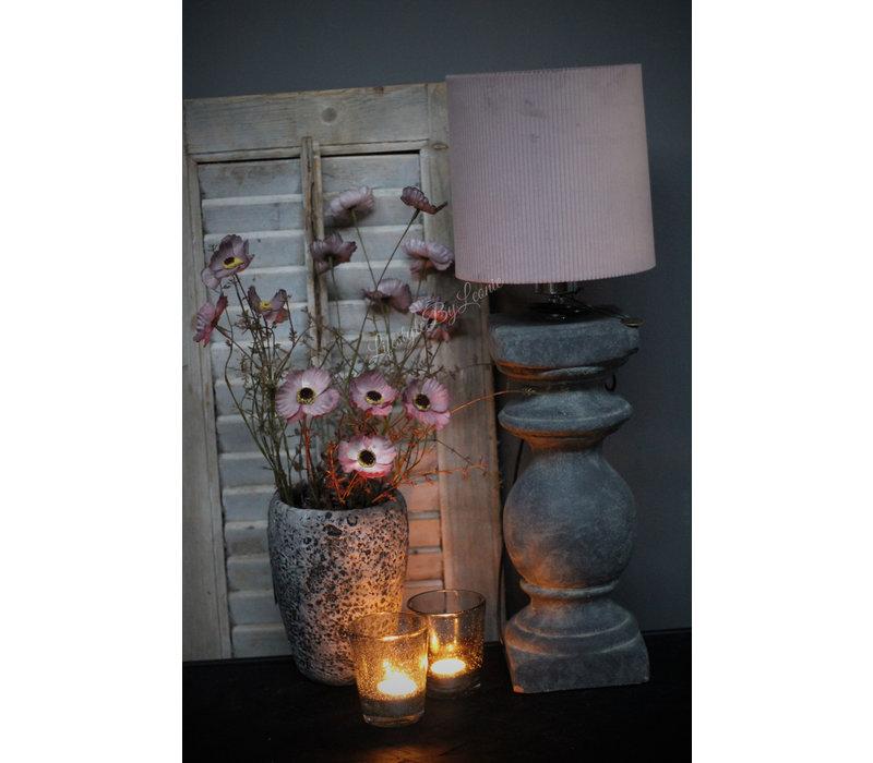 Velvet cilinder lampenkap rib Soft paars 20 cm
