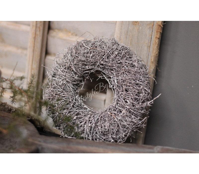 Mini twig krans White wash 15 cm