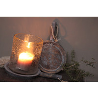 Houten ronde plate handvat  Old Grey