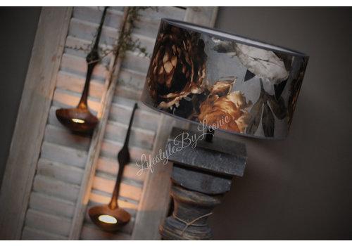 Velvet cilinder lampenkap Flower camel 30 cm