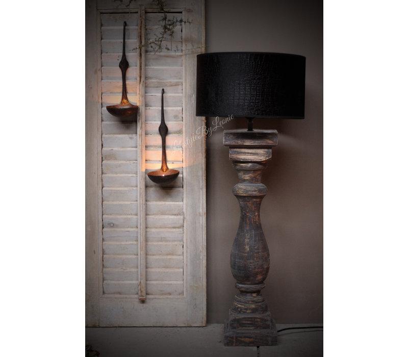 Velvet cilinder lampenkap Croco black 30 cm