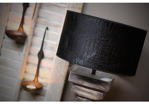 Velvet cilinder lampenkap Croco black 30cm