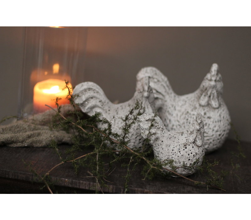 Sobere stenen kip Grey wash 14 cm