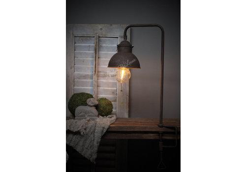 Roestige tafelklem LED lamp 71 cm