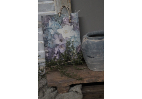 Houten bordje bloemen pastel blauw/paars