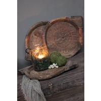 Authentieke houten Indiase schaal Naturel Carved 35 cm