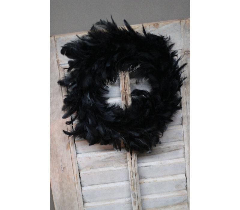 Krans zwarte veren 30 cm