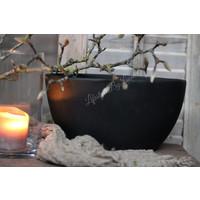 Mat zwarte ovale stenen pot 29 cm