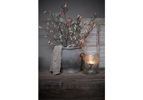Zijden namaak tak Magnolia salmon pink 95cm