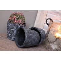Zwart stenen potje 13 cm