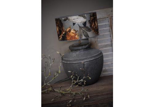 Zwarte stenen kruik lampvoet met ribbels 31 cm