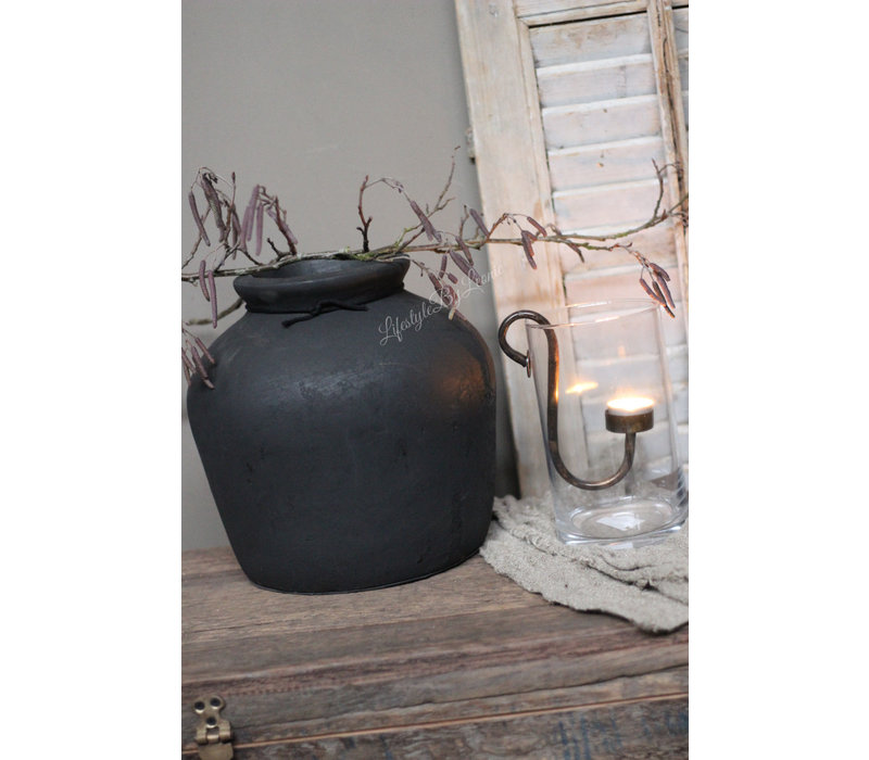 Zwarte stenen kruik Bas 30 cm