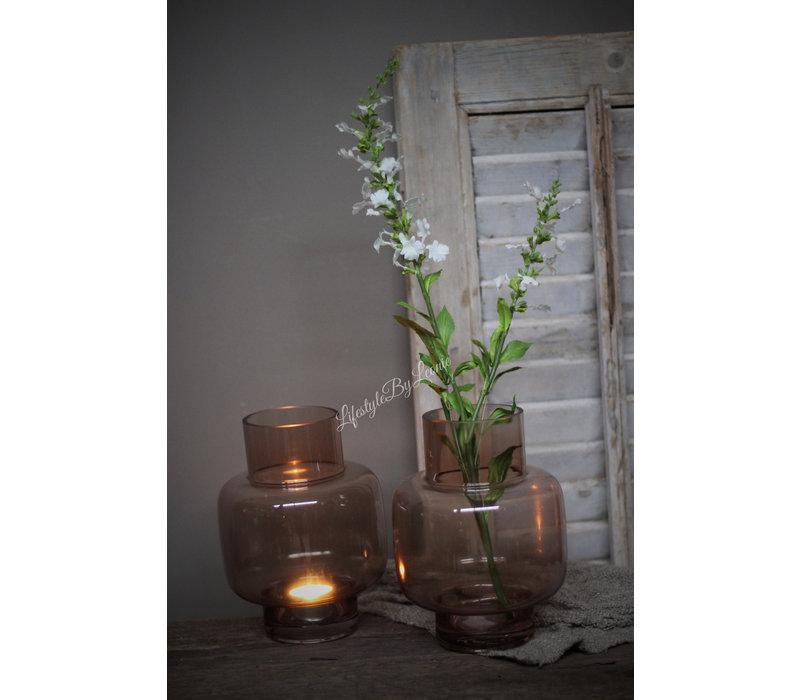 Glazen vaas / windlicht mokka 20 cm